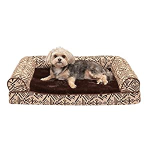 Furhaven Pet Dog Bed – Memory Foam Plush Kilim Southwest Home Decor Traditional Sofa-Style Living Room Couch Pet Bed with Removable Cover for Dogs and Cats, Desert Brown, Medium
