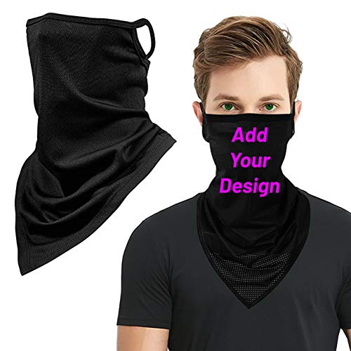 Chilimen Custom Ear Loops Neck Gaiter for Men Personalized Design Printing Magic Scarf Running Cooling Face Bandanas 1 Pack Black