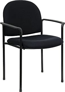 Flash Furniture Comfort Black Fabric Stackable Steel Side...