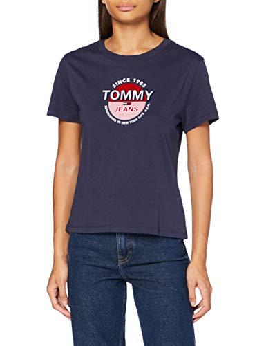 Tommy Jeans Damen Tjw Circle Logo Tee Hemd, Twilight Navy, S