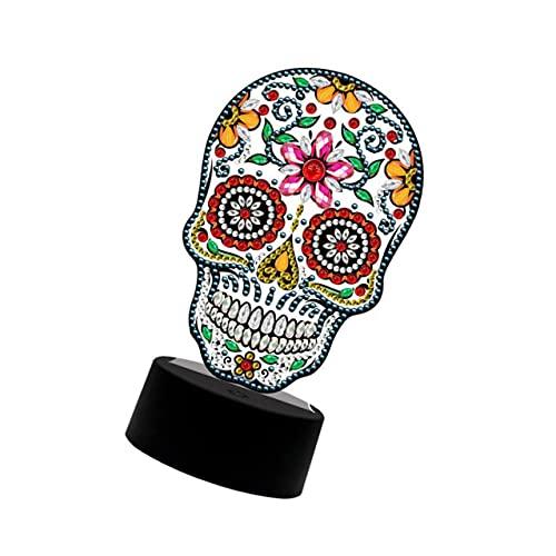 ibasenice Lámpara Calavera Noche de Halloween Luz Bordado Mosaico Lámpara de Mesa Decoración de Halloween