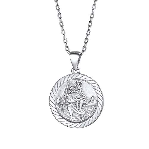 Silvora Saint Christopher Necklace Sterling Silver St Christopher Protective Medal Jewelry for Travelers Office Ladies Pendants Silver
