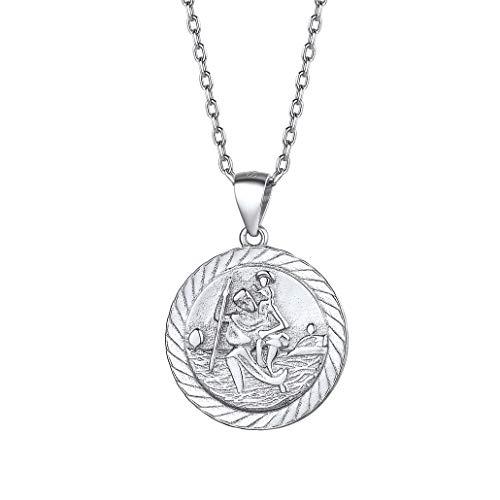 Silvora Plata de Ley Monedas Preciosas San Cristobal Medalla y Collar para Hombres Mujeres