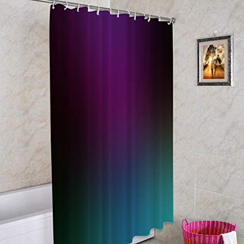 Batmerry Purple Teal Blue Green Decorative Shower Curtain, Fancy Green Teal Black Shower Curtain Cute Long Wide Shower Curtain with Rust Proof Grommets for Bathroom Farmhouse Waterproof Washable