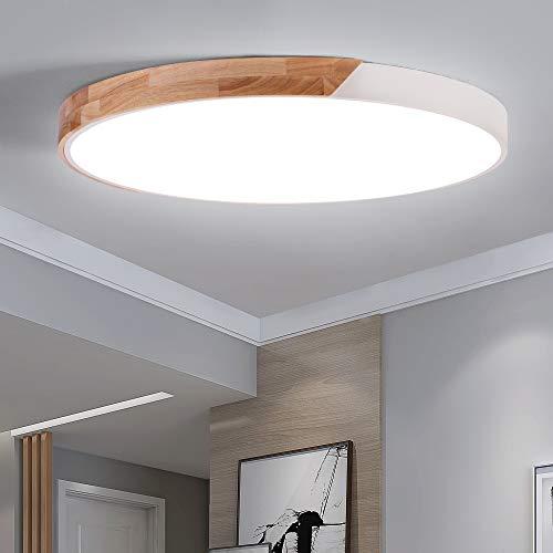 ERWEY LED Deckenleuchte Holz 60W Deckenlampe Rund Bürodeckenlampe Ø60cm 5100LM 6500K Kaltweiß Wohnzimmerlampe für Schlafzimmer, Büro, Küche, Wohnzimmer