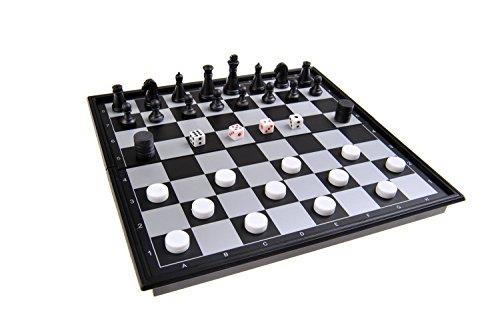 Quantum Abacus Magnetisches Brettspiel 3-in-1 (kompakte Reisegröße): Schach, Dame - Backgammon - magnetische Spielsteine, Spielbrett zusammenklappbar, 20x20x2cm, Mod. SC54810 (DE)
