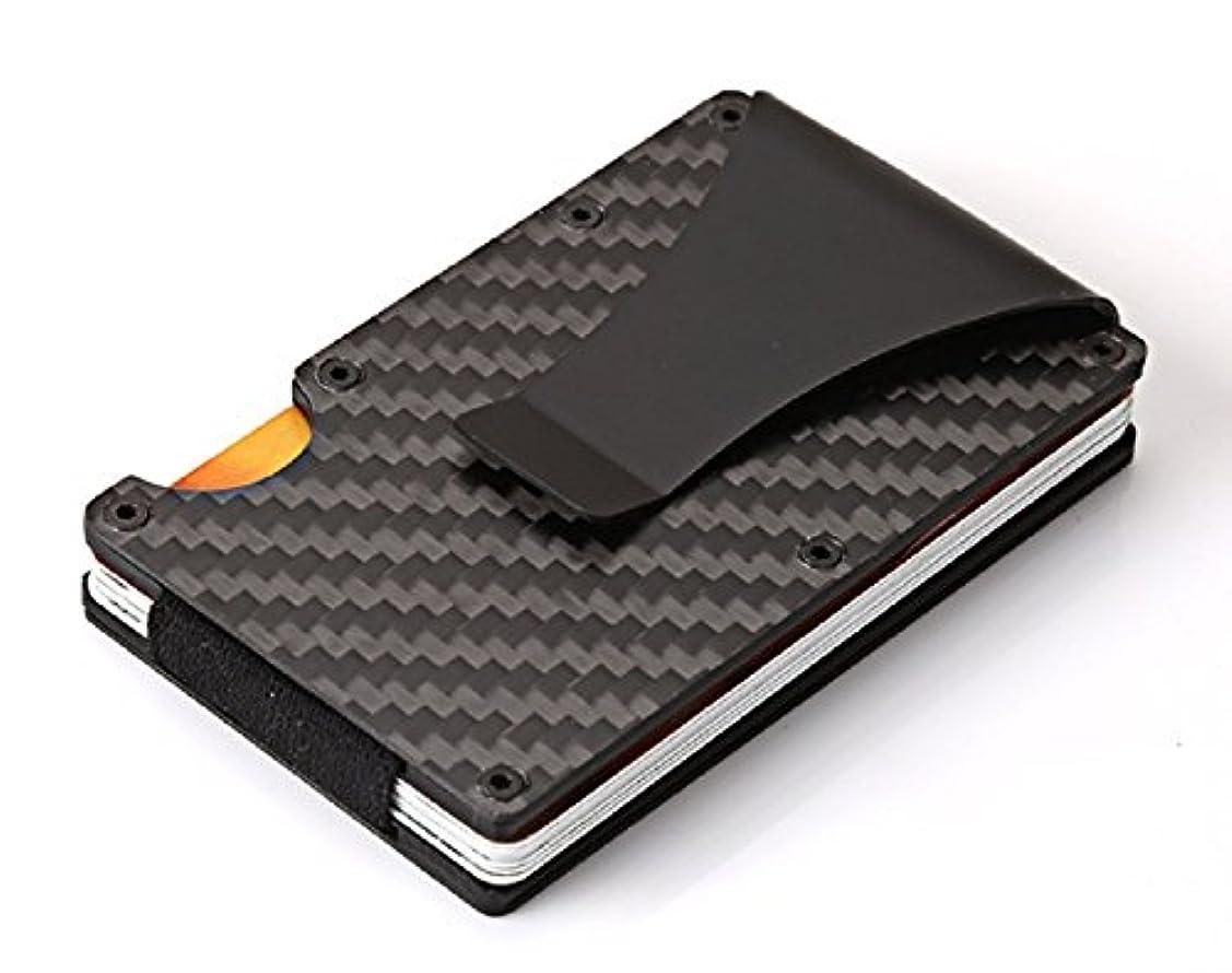 部屋を掃除するタイマー木製マネークリップ付 クレジットカードケース カードホルダー 名刺入れ カーボン RFID機能 磁気防止 カード収納 薄型 男女兼用