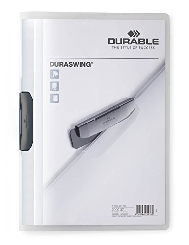 Durable 229037 Klemm-Mappe Duraswing (bis 30 Blatt A4) matt transparent, 5er Packung