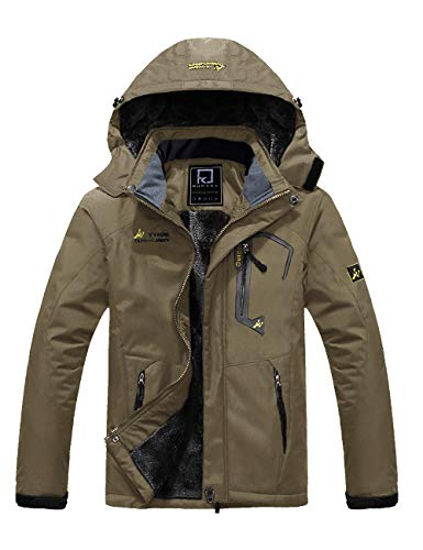 R RUNVEL Herren Jacke Winter Funktionjacke Skijacke Warm Wasserdicht Winddichtet Outdoor Regen Jacke mit Fleece Futter mit Kapuze Khaki XL 54