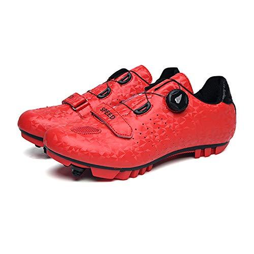 Zapatos de ciclismo para hombres, zapatos para bicicletas de montaña de adultos unisex y transpirables zapatos de bloqueo de ciclismo de nylon profesional con 5 pares de calcetines deportivos,Rojo,43