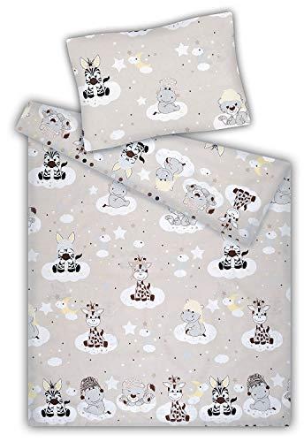 KiGATEX Kinderbettwäsche Baumwolle 40x60 + 100x135 cm (Zootiere beige)