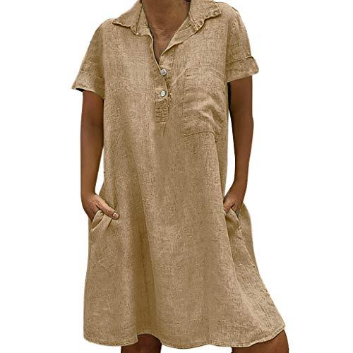 Damen Leinen Kleid Frauen Sommer T-Shirt locker lässig Große Größe Absatz einfaches Kleid URIBAKY (XXXXXL, Beige)