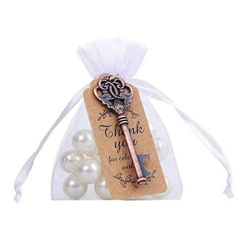Amajoy - Abridor de botellas con tarjeta y bolsa transparente para regalos de boda, fiesta de bienvenida de bebé, 50 unidades