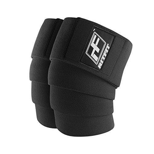RitFit Knee Wraps (Pair) - Ideal for Squats, Powerlifting, Weightlifting, Cross Training WODs - Compression & Elastic Support - for Men & Women - Bonus Carry Case (Black Pro)