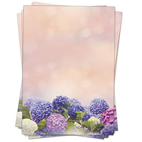 Briefpapier Motivpapier Design-Motiv Hortensien blau rosa Blumen - 50 Blatt, DIN A4 Format, Bastel-Papier beidseitig bedruckt