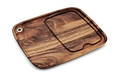 PERFECT BBQ STEAK PLATE for your porterhouse, ribeye, burger, or any other slab of meat you desire; no varnish, polyurethane, lacquer or shellacs, just raw wood thinly coated in food grade mineral oil to keep your food safe STEAKHOUSE RESTAURANT QUAL...