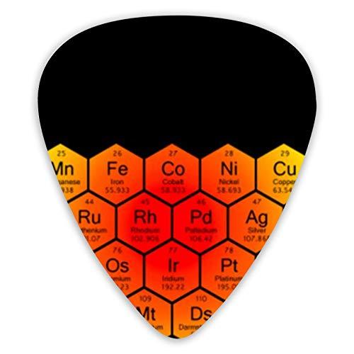 Tabla periódica de panal, púas de guitarra arcoíris, púas de guitarra de 12 piezas para guitarra eléctrica, bajos, fino, mediano y grueso