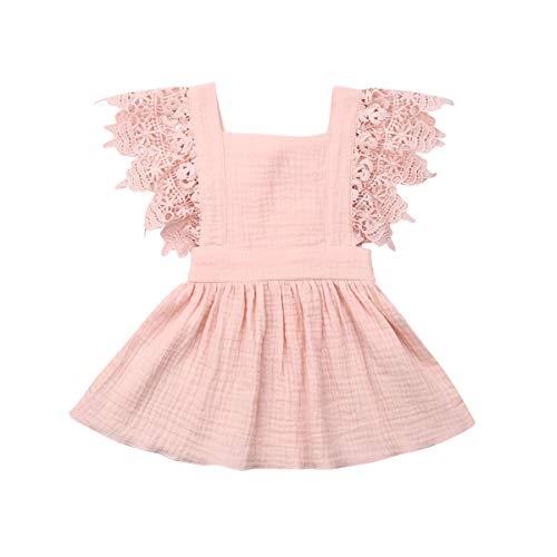 YQYJA Kleinkind Baby Mädchen Sommerkleid Ärmellose Plaid Print rückenfreie Spitze Kleid Baumwolle Freizeitkleider (Rosa, 9-18 Monate)