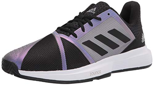 adidas Men's Courtjam Bounce Tennis Shoe, Black/Black/Grey, 8.5
