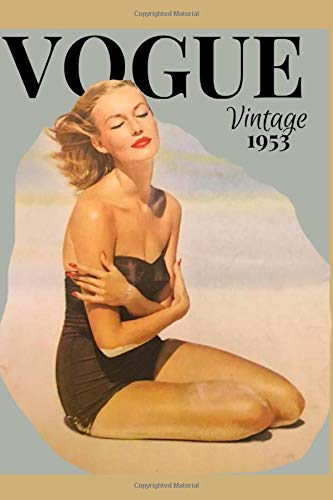 """VINTAGE VOGUE: Notebook Journal - Cover from vintage 1953 Vogue magazine - 120 lined pages - 6"""" x 9"""""""