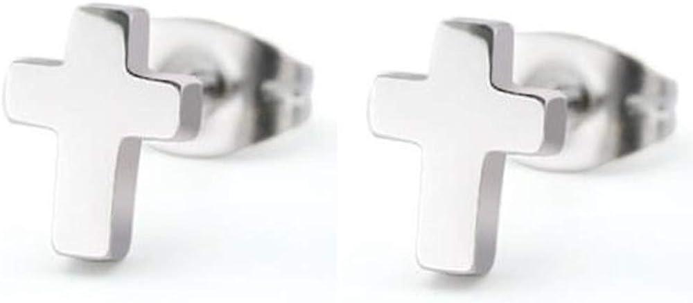 Stailnless Steel Tiny Size Christian Cross Stud Earrings