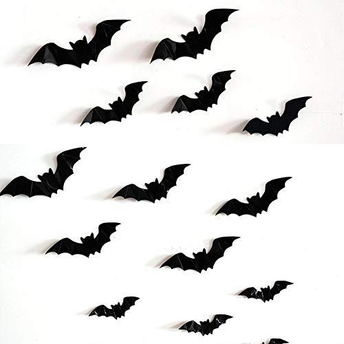 QQSA Bat orribile Sicker per la casa Showcase Halloween Party Decor Art Decalcomanie Decorazione della casa Stanza (Color : Black, Size : 80)