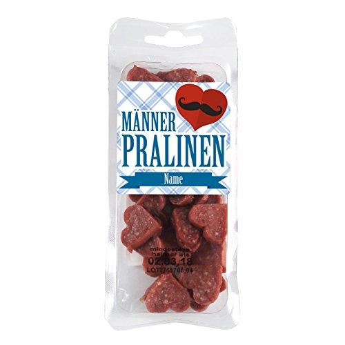 Herz & Heim® Salamiherzen - Männerpralinen - mit Namensaufdruck für Vatertag