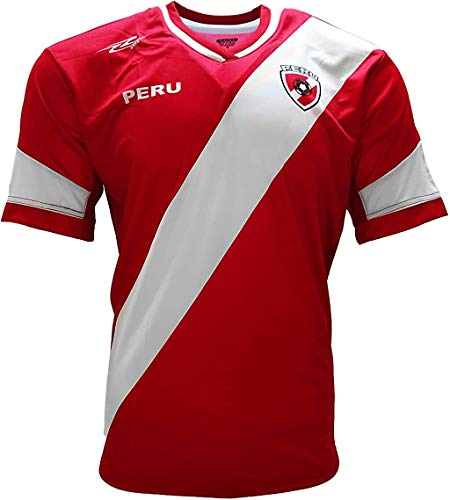 Peru 2017 Jersey New Arza Soccer Red for Men 100% Polyester (Large)
