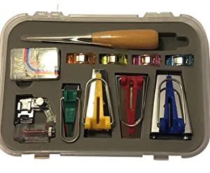 Bias Tape Maker ? Bias Tape Maker Kit 11 Pcs ? Bias Tape Maker Set Including Bias Binder Foot, Awl Tool, Ball Pins, Various Color Cloth Clips, and Measure Tools ? Easy to Use Bias Binding Maker