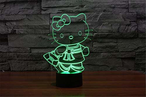 YAOYUNZI 3D LED Nachtlicht Illusionslampe 7 Farbwechsel Dekor Lampe Perfekte Geschenke Für Kinder (Hello Kitty)