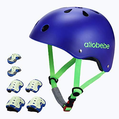 Kids Bike Helmet Toddler Helmet for 2 - 5 years, Sport Protective Gear Set, Adjustable Child Cycling Helmet, Knee Pads Elbow Pads Wrist Guards for 3 - 10 years, Cycling Skating Scooter Helmet and Pads