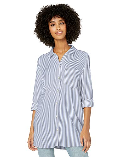 Amazon Brand - Goodthreads Women's Modal Twill Long-Sleeve Button-Front Tunic Shirt, Blue/White Stripe, Large