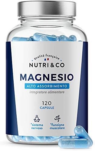 Magnesio Vegetale + Vitamina B6 Bio-attiva   Uguale Contenuto di Magnesio Marino e Superiore Assorbimento del Bisglicinato   120 Capsule 300mg /d   Malato & Magnesio Liposoma   Nutri&Co