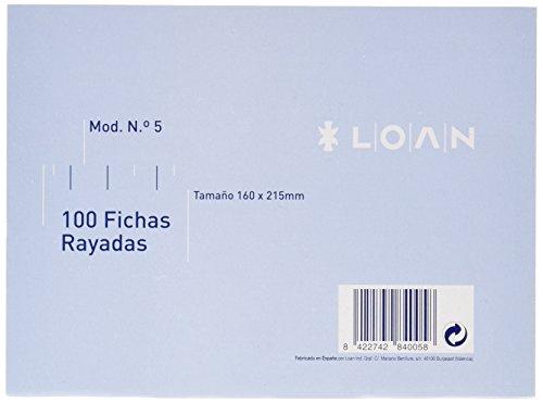 Fichas Cartulina Rayadas 125X200 Marca LOAN