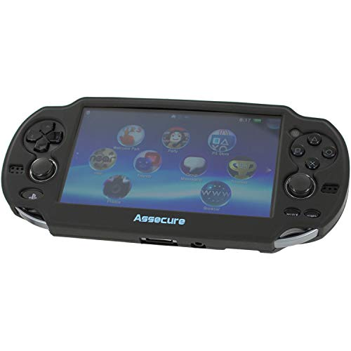 Assecure Pro Black Silicone Gel Skin Protector Cover Protective Bumper Grip Case for Sony PS Vita (PSP PSV)