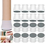 Furniture Pads 16 PCS Chair Leg Floor Protectors with Felt Pad Anti-Slip Table Feet, Prevents Scratches and Noise (Transparent)