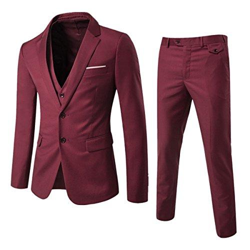 Anzug Herren Slim Fit 3 Teilig Anzüge Herrenanzug Sakko für Hochzeit Business Weinrot X-Large