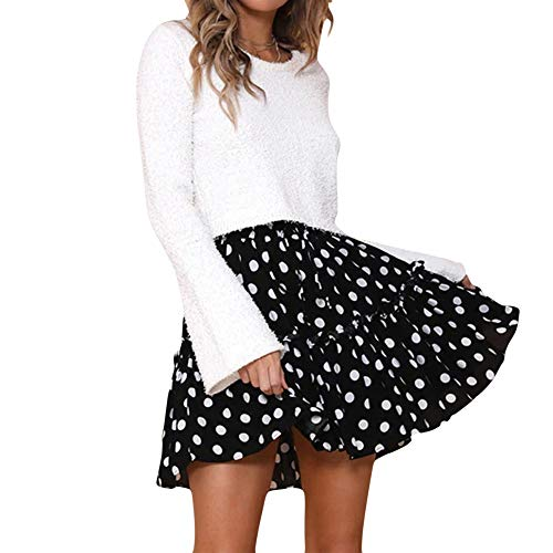 FRAUIT dames flared kort skirt rock polka dot plissé mini skater rok met trekkoord