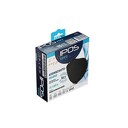 IPOS FFP2 Schwarz Atemschutzmaske Faltmaske Maske CE Zertifiziert (10 Stück einzelverpackt im PE-Beutel)