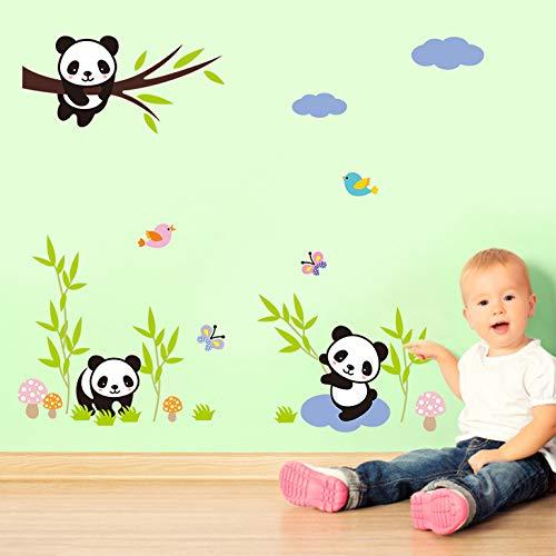 Grandora Wandtattoo AST mit Pandabären Schmetterlinge Vögel I 90 x 30 cm (BxH) I Kinderzimmer Jungen Babyzimmer Aufkleber Sticker Wandaufkleber Wandsticker W5303