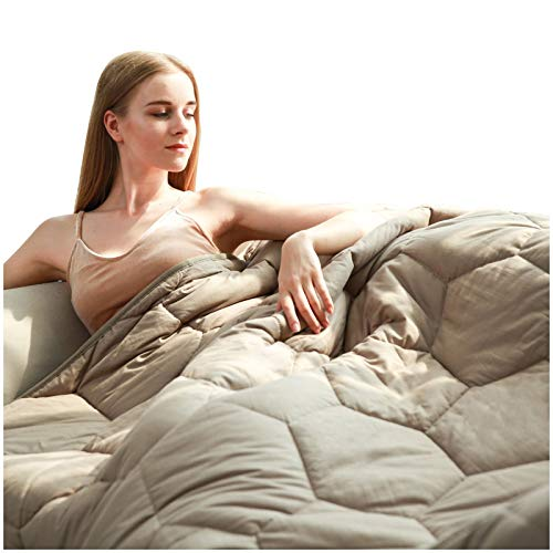 YEMYHOM 100% Cotton Weighted Blanket Adult Bed Heavy Blankets with Glass Beads (60'x80' 20 lbs,...