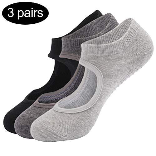 Macabolo 3 pares de calcetines antideslizantes para yoga, pilates, ballet, baile, ballet, yoga, pilates, ballet