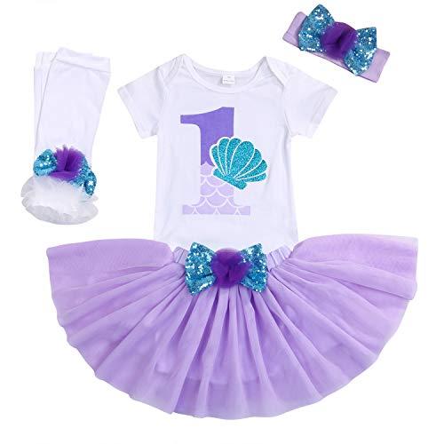 Baby Girls 1st Birthday Mermaid Outfit Romper Headband Leggings Tutu Dress Sequin Bowknot Princess Skirt Sets (12-18 Months, White # Mermaid)