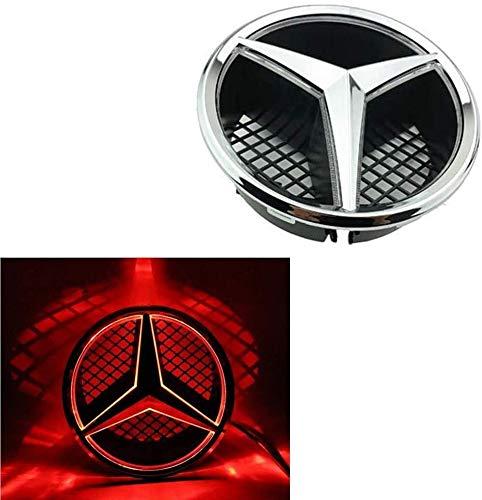 LNLJ Emblem-LED Für Mercedes Benz C/GLK/B-Klasse Und Mehr Zentrum Front-Auto-Grill-Abzeichen, Beleuchtet Logo,Rot