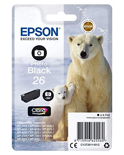 Epson T2611 Cartouche d'encre d'origine Noir Photo Amazon Dash Replenishment est prêt