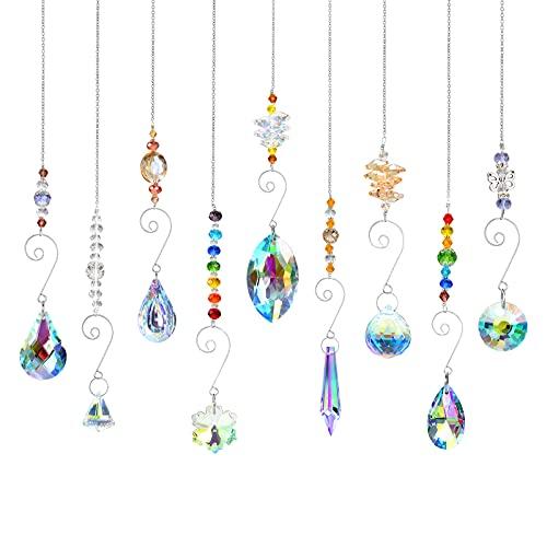 9 unidades de atrapasueños de cristal, colgante decorativo para ventana, cristal prisma,...