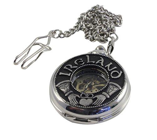 Mullingar Pewter Pocket Watch Claddagh Ireland Mechanical