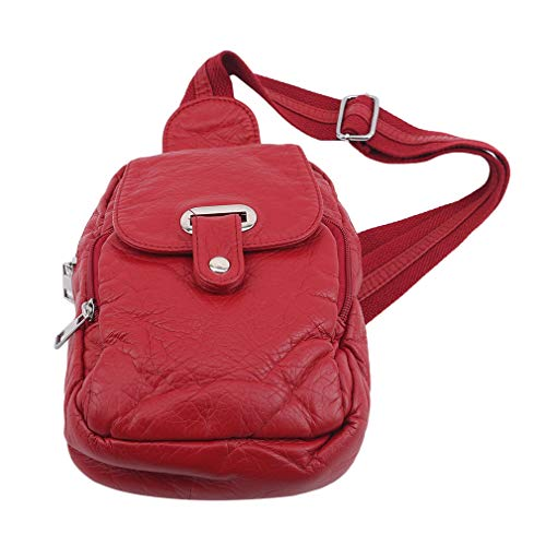 Schwenly Mochila bandolera bandolera multiusos casual, Red (Rojo) - Schwenly