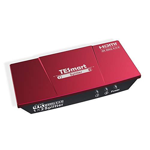 TESmart HDMI Splitter 1 in 2 Out, HDMI Splitter 4K@60Hz Unterstützt HDCP 2.2 und CEC Funktion, Bidirektionaler HDMI-Splitter Flexible Steuerung 7 EDID-Modi für Laptop PS4 Xbox Sky Box-Rot