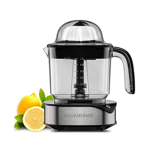 Electric Citrus Juicer 1.2 L Large Volume Pulp Control Stainless Steel Orange Squeezer with Two Cones Powerful Motor Lemon Juicer Electric for Grapefruit Orange Lemon Extractor by LUUKMONDE